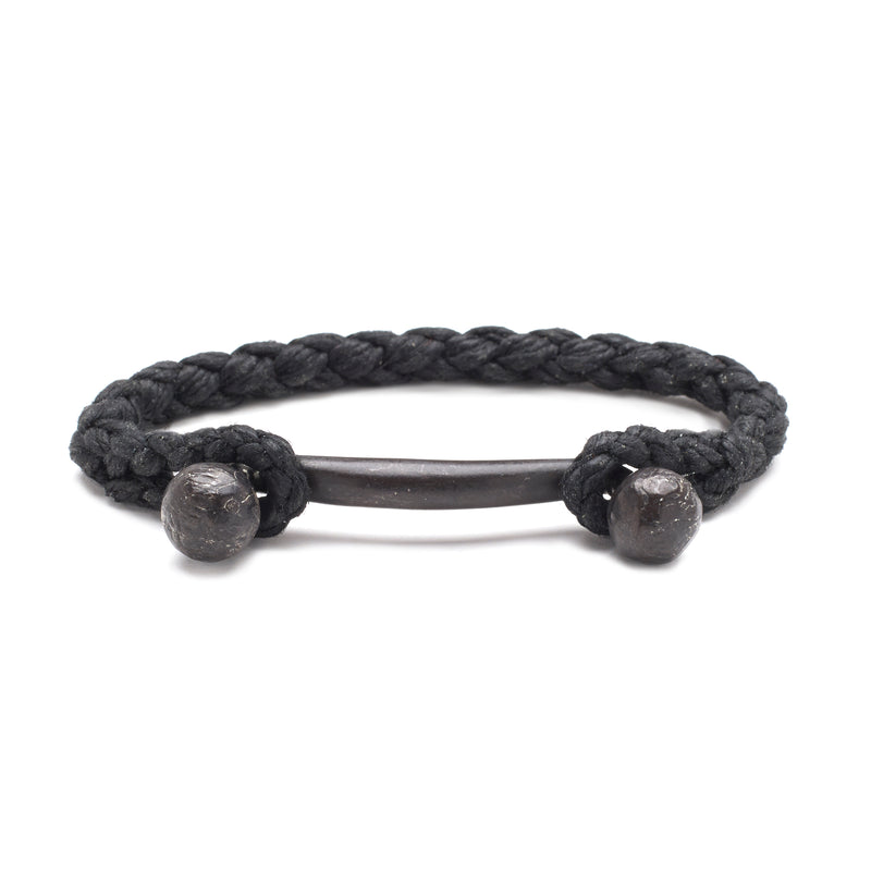 Double Ball Bar with Rope Cuff in Oxidized Black