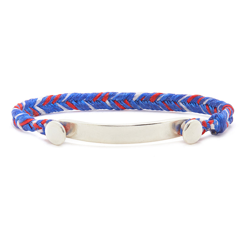 Fishtail Bar Bracelet in Royal Blue, Scarlet, and White