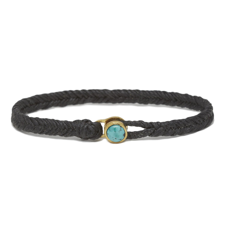 Fishtail Turquoise Button in Brass & Black