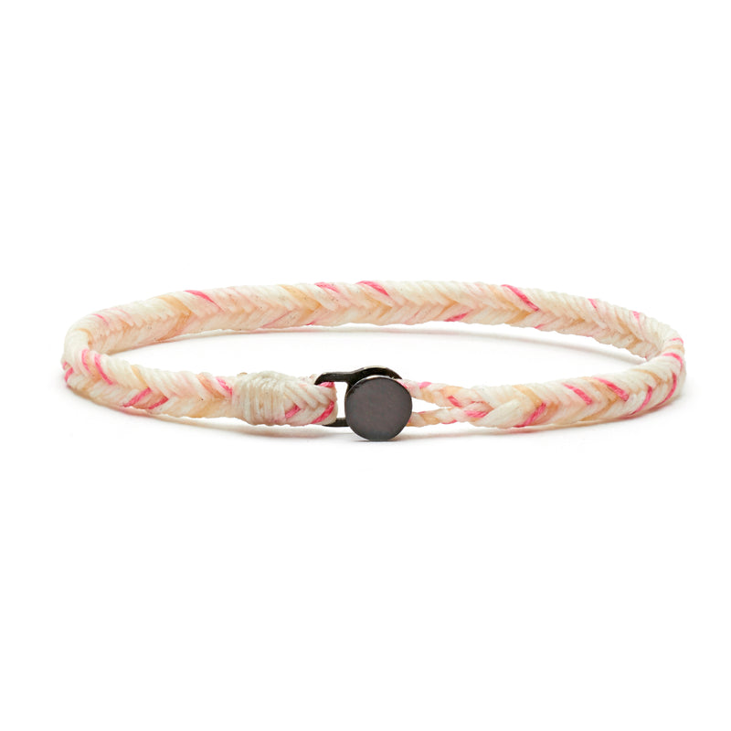 Classic Fishtail Button Bracelet in Pink Linen Blend