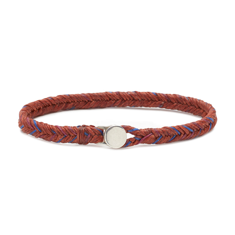 Classic Fishtail Button in Rust, Royal Blue, and Berry Fleck