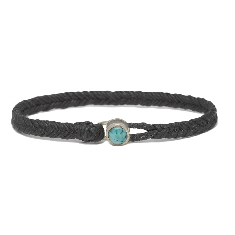 Fishtail Turquoise Button in silver & Black