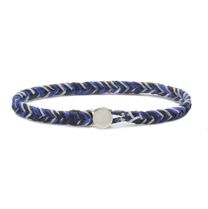 Scosha Classic Fishtail Button Bracelet in White, Indigo, Denim, and Royal Blue