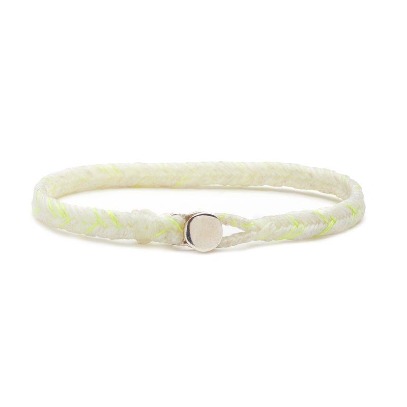 Scosha Classic Fishtail Button Bracelet in White and Neon Yellow