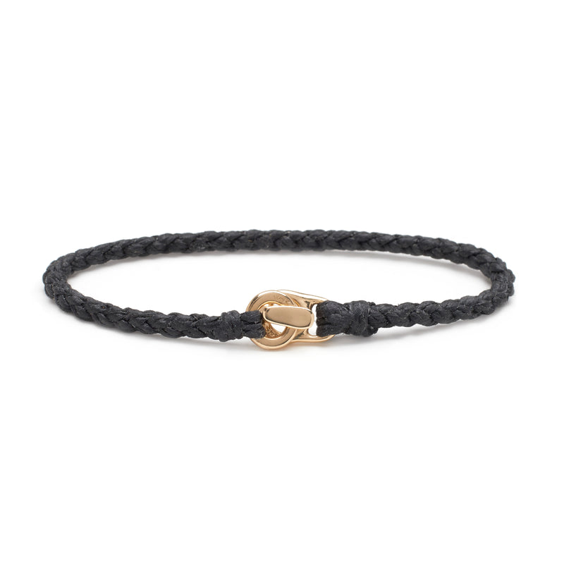 Single Wrap Bracelet in Gold with Black