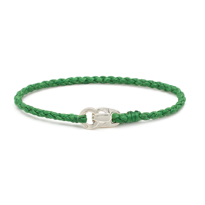 Single Wrap Bracelet in Silver and Kelly Green
