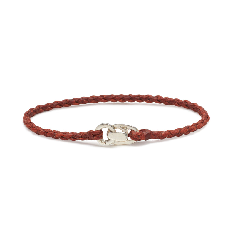 Single Wrap Bracelet in Silver and Rust