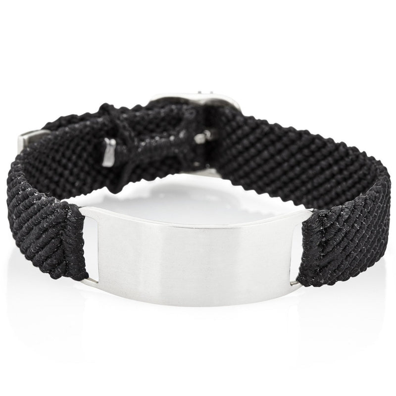 Belt ID Bracelet in Silver and Black