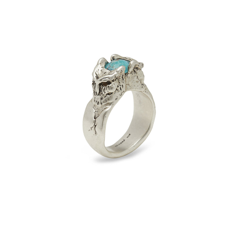 OWL RING IN SILVER WITH Turquoise