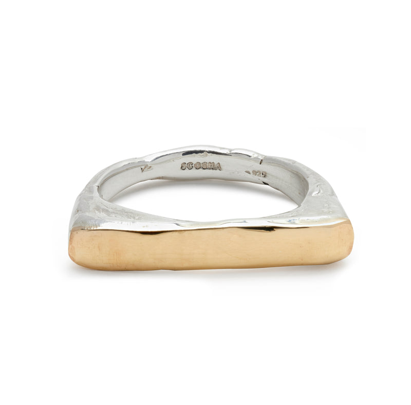 Hammered Ring with Gold
