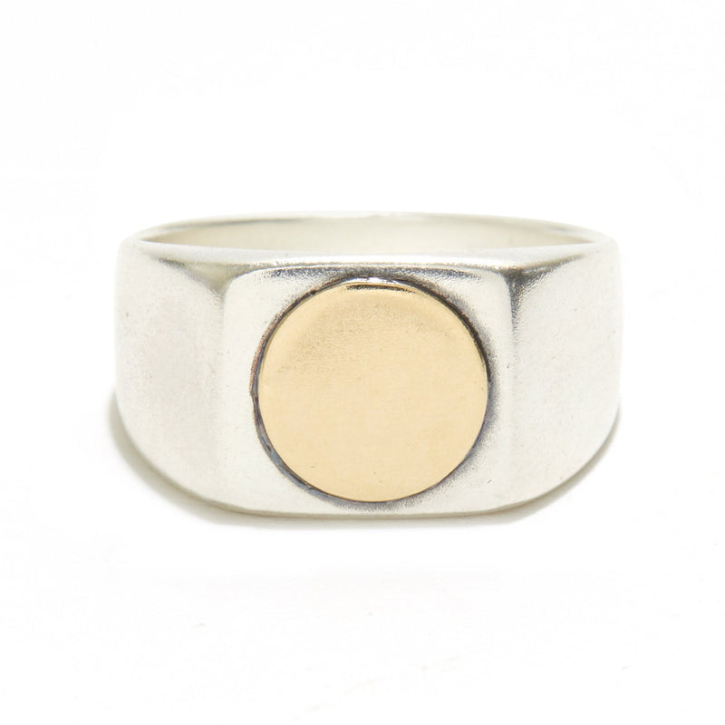 Geometric Signet in Silver and Gold