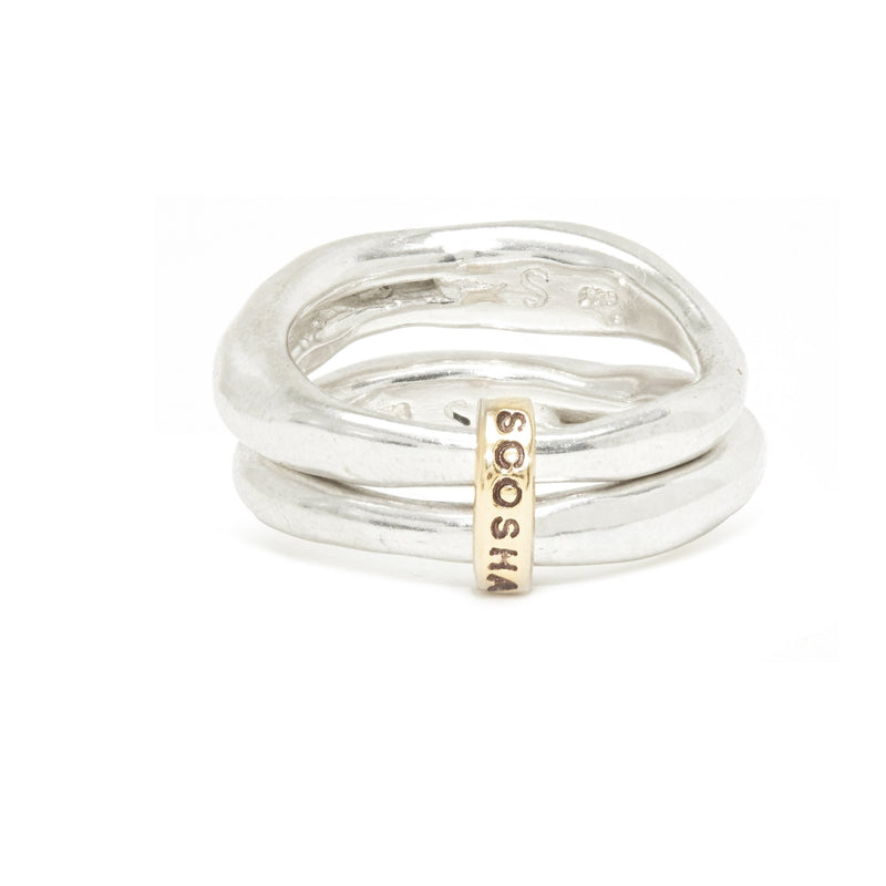 Double Band Ring in Silver and Gold