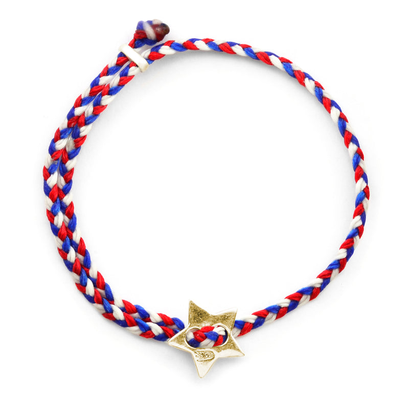 Red, White & Blue Signature 4mm Bracelet in Polished Brass
