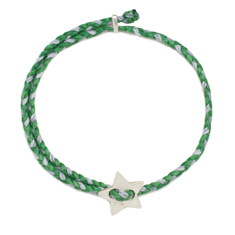 Signature 4mm Bracelet, Silver Star in Kelly and Aquaspray