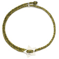 Signature 4mm Bracelet, Silver Star in Olive