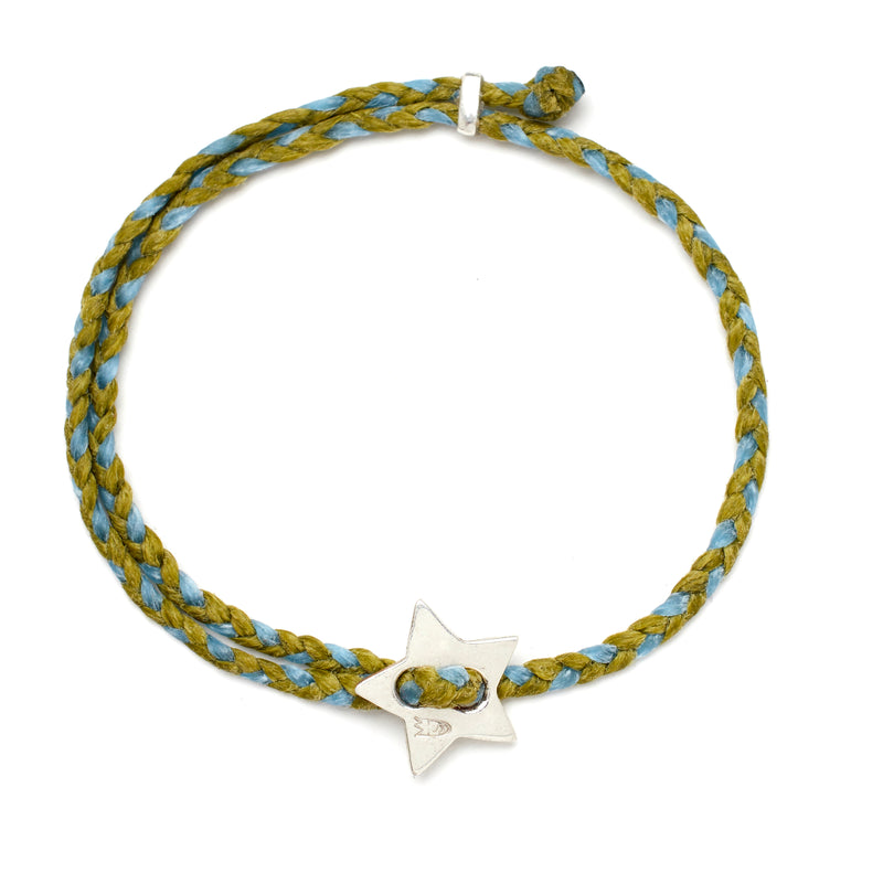 Signature 4mm Bracelet, Silver Star in Olive and Sky