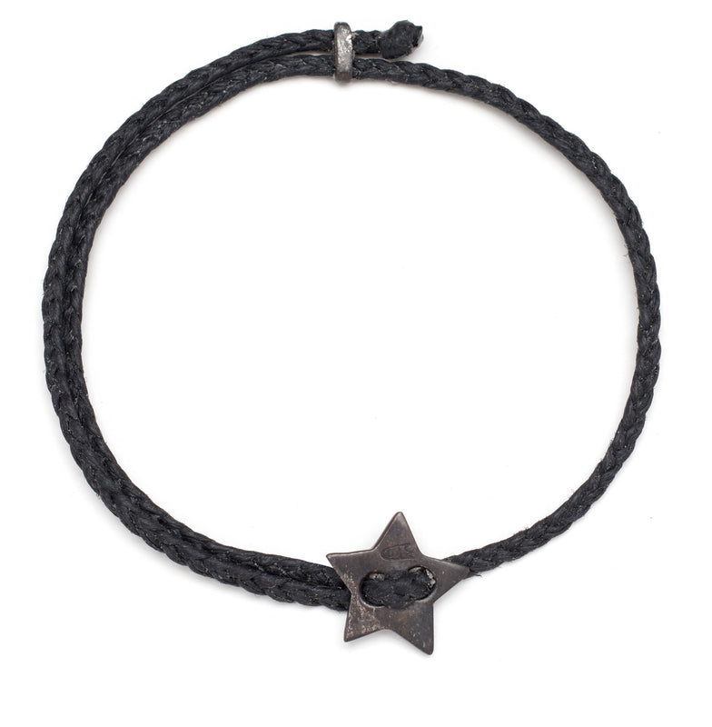 Friendship Star Slider Braid in Oxidized Silver and Black