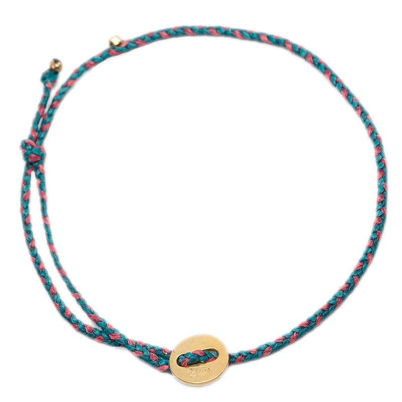 Signature Anklet in Brass with Turquoise & Pink (2mm)