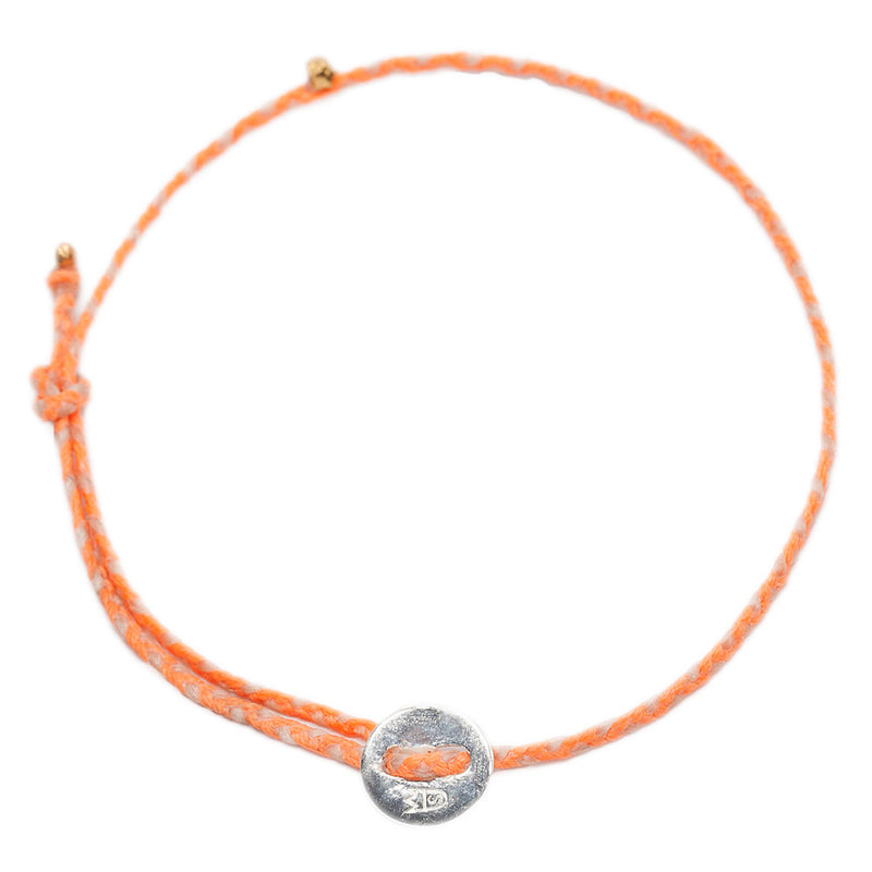 Signature Anklet in Silver with Neon Peach & Natural (2mm)