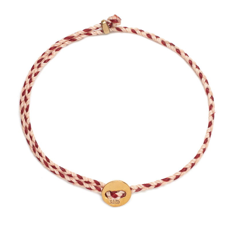 Signature 2MM Bracelet, Polished Brass in Ballet Pink & Red