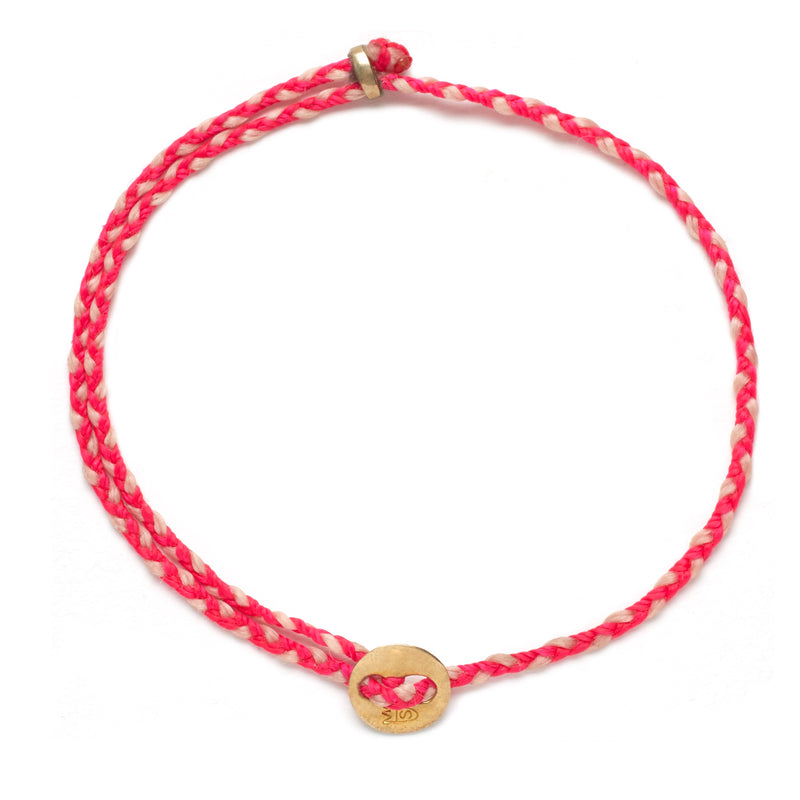 Signature 2MM Bracelet, Polished Brass in Fuchsia & Ballet Pink