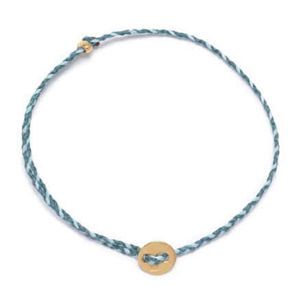 Signature 2mm Bracelet, Polished Brass in Petrolio and Light Blue