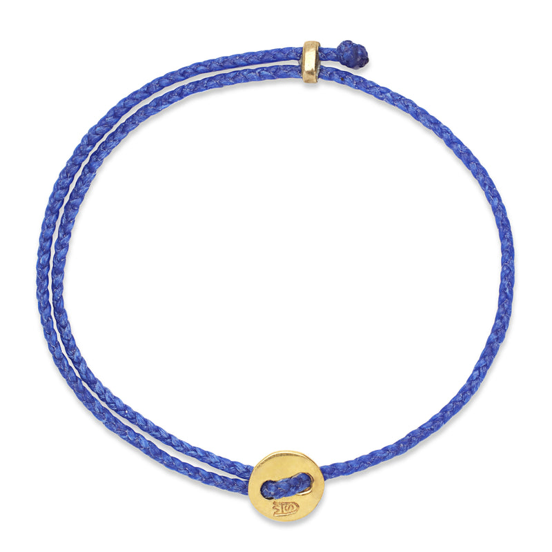 Signature 2MM Bracelet, Polished Brass in Royal Blue