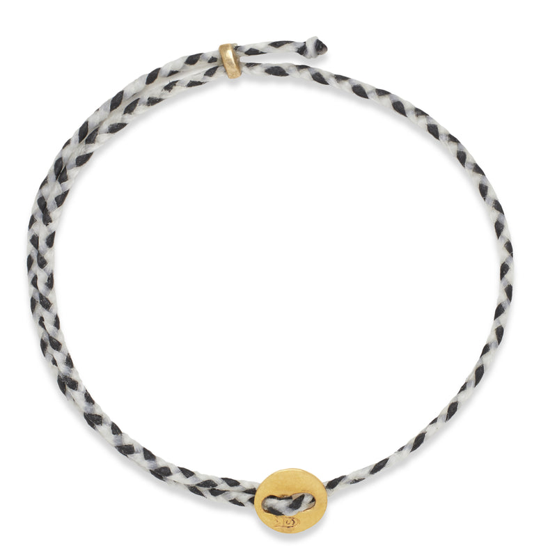 Signature 2MM Bracelet, Polished Brass in White & Black