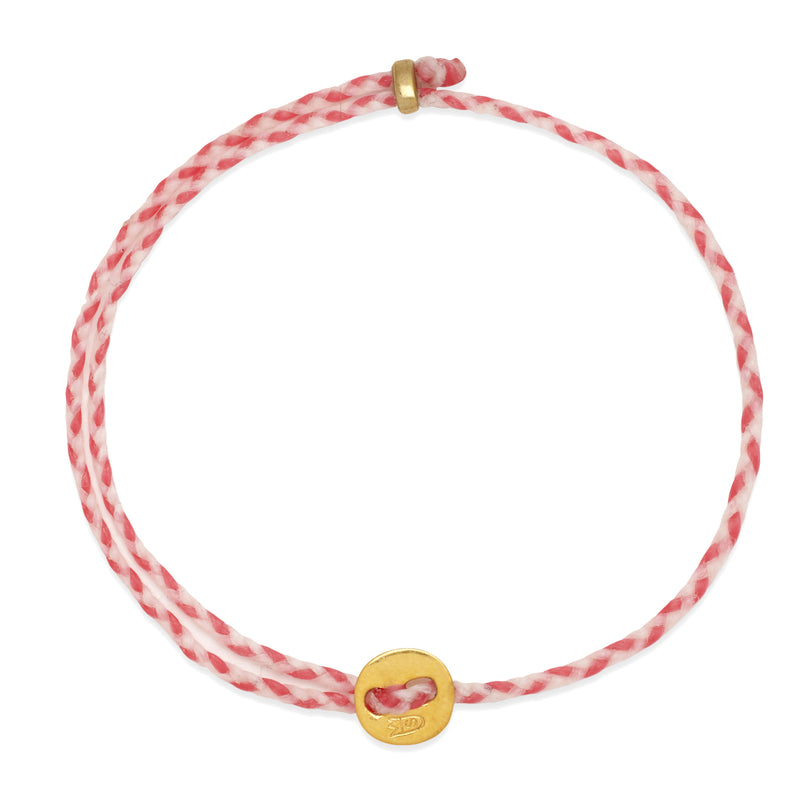 Signature 2MM Bracelet, Polished Brass in White & Hot Pink