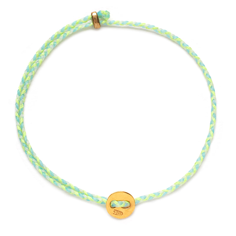 Friendship Braid in Neon Yellow, Sky, and White