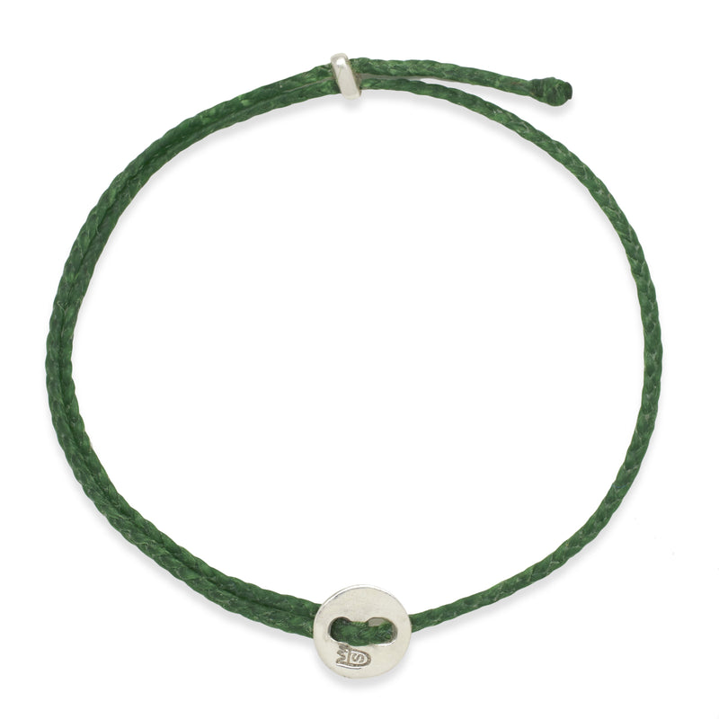 Signature 2MM Bracelet, Silver in Kelly Green
