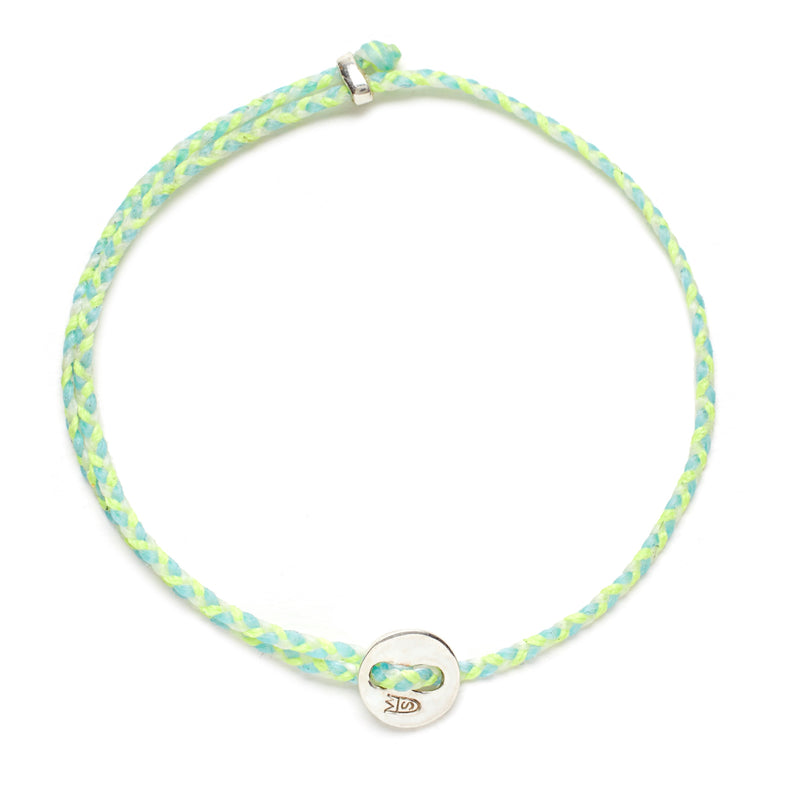 Signature 2MM Bracelet, Silver in Neon Yellow, Sky, and White