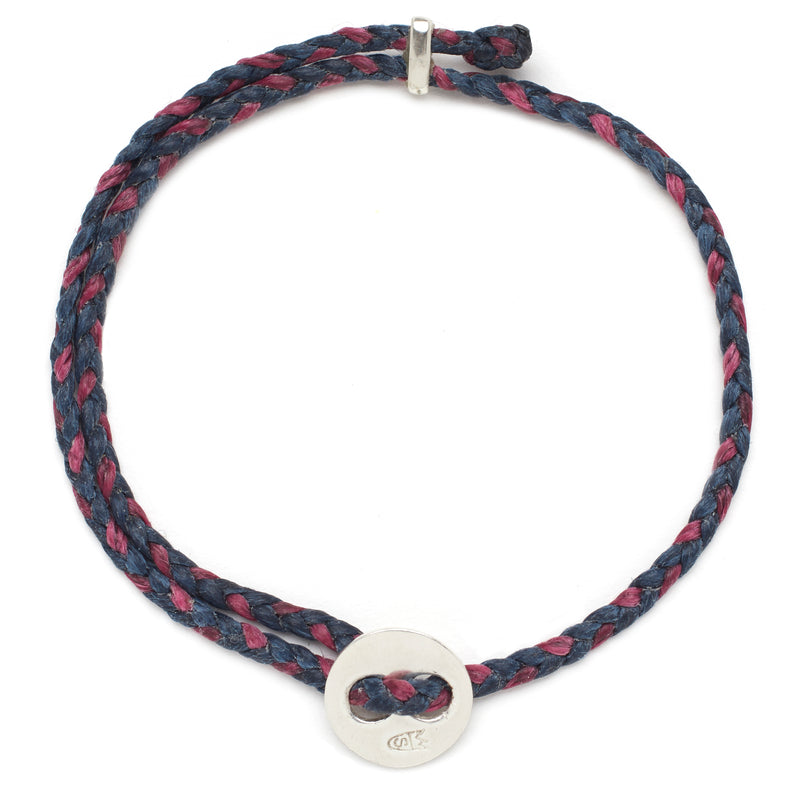 Signature 4mm Bracelet, Silver in Denim and Berry