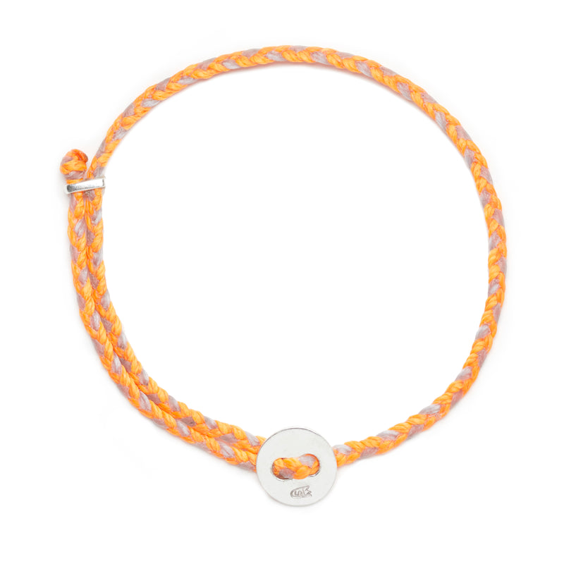 Signature 4mm Bracelet, Silver in Neon Orange and Aquaspray