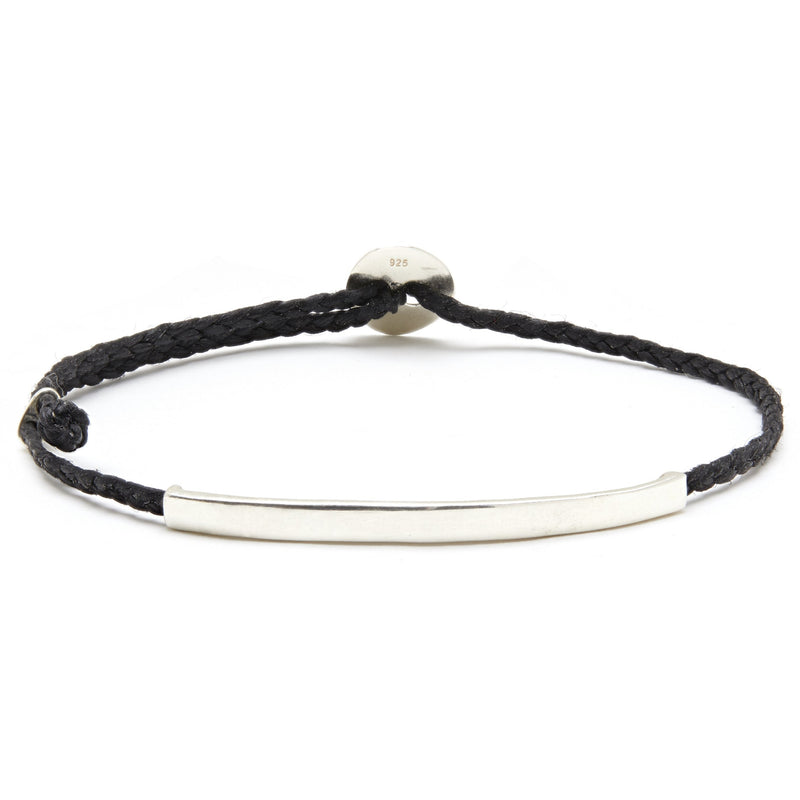 Adjustable Signature Bracelet with ID Bar in Black