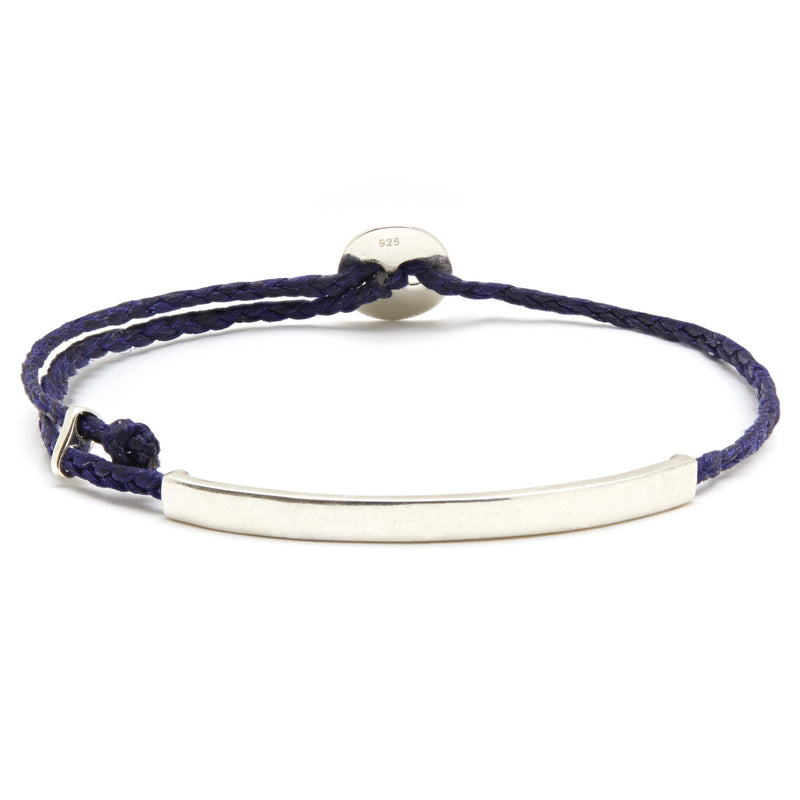 Adjustable Signature Bracelet with ID Bar in Indigo