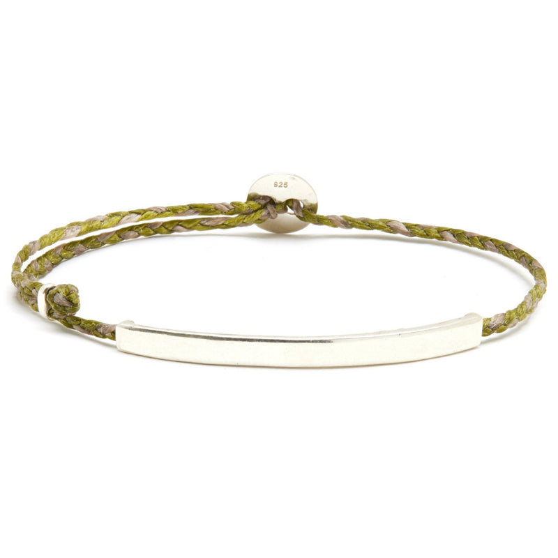 Adjustable Signature Bracelet with ID Bar in Olive/Light Pink Blend