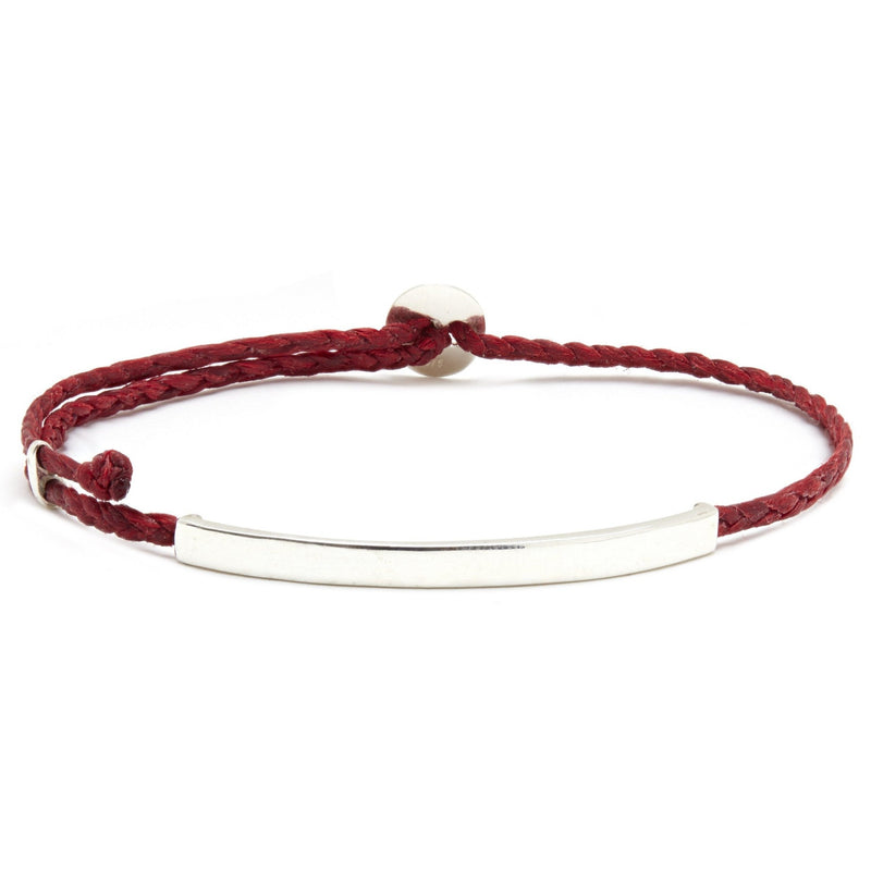 Adjustable Signature Bracelet with ID Bar in Red