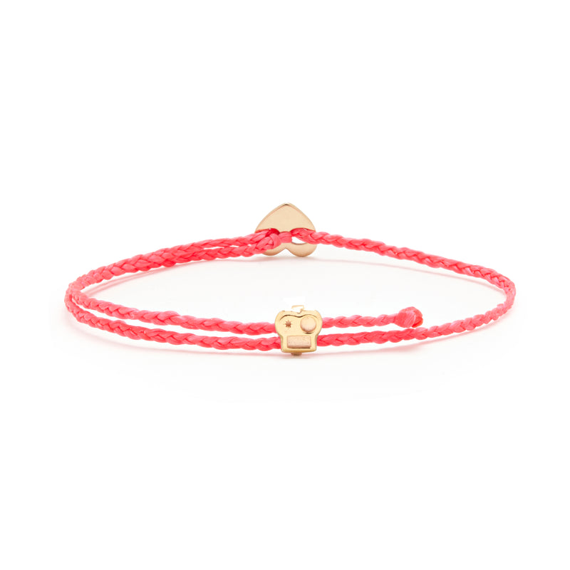 Signature Bracelet with Brian Slider and Heart Button in Fuchsia