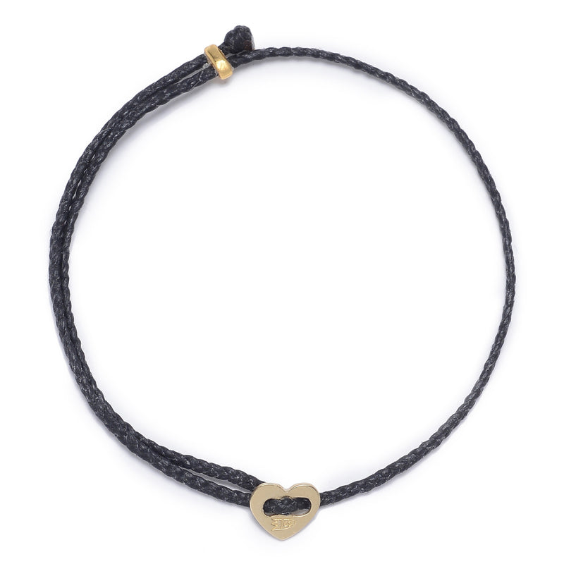 Signature 2MM Heart Slider Bracelet, Polished Brass in Black