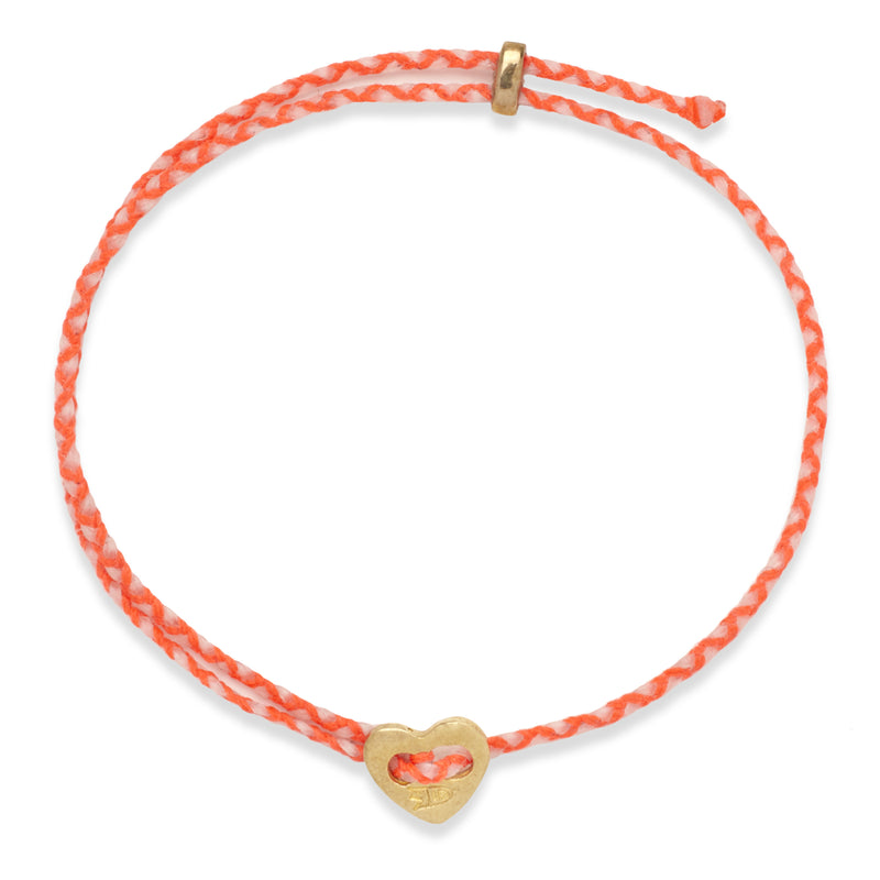 Signature 2MM Heart Slider Bracelet, Polished Brass in Neon Peach & White
