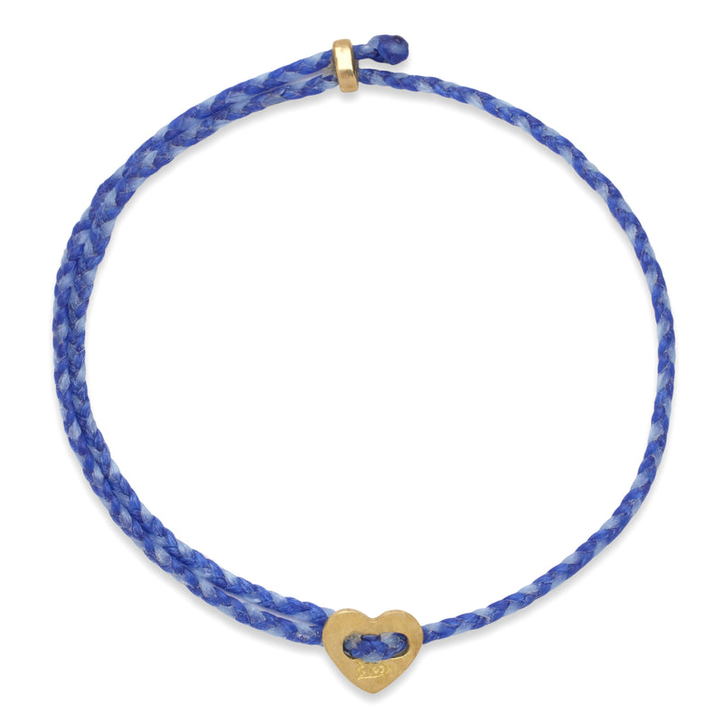 Signature 2MM Heart Slider Bracelet, Polished Brass in Royal Blue & Sky