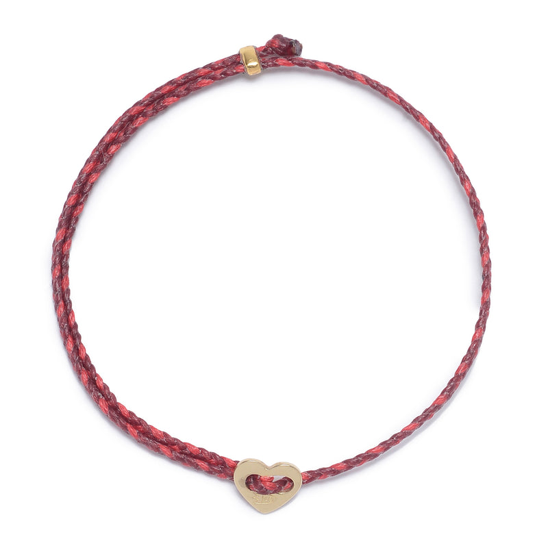 Signature 2MM Heart Slider Bracelet in Red & Scarlet