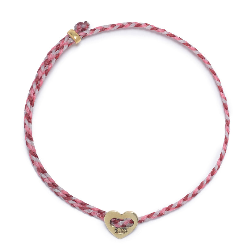 Friendship Heart Slider Braid in Hot Pink, Red, and White