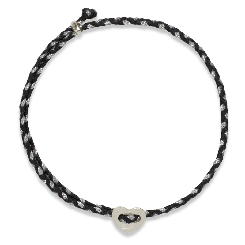Signature Heart 2MM Slider Bracelet, Silver in Black & Silver