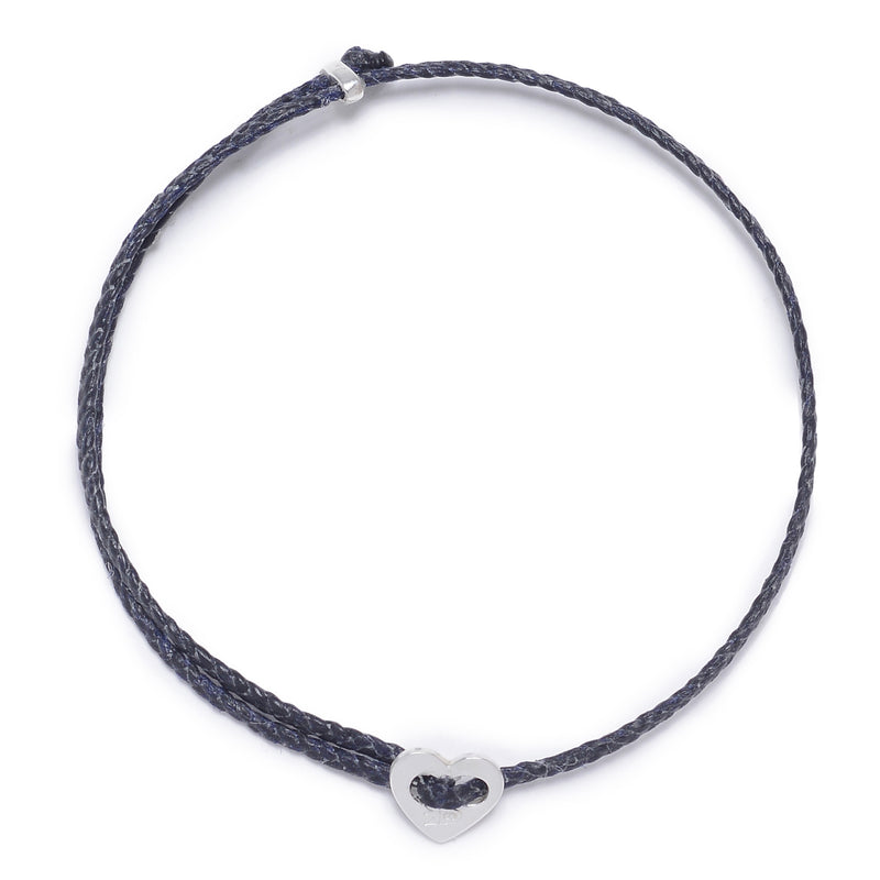 Signature 2MM Heart Slider Bracelet, Silver in Navy