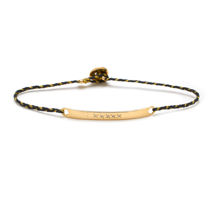 Signature ID Bracelet with Diamonds in Black and Gold