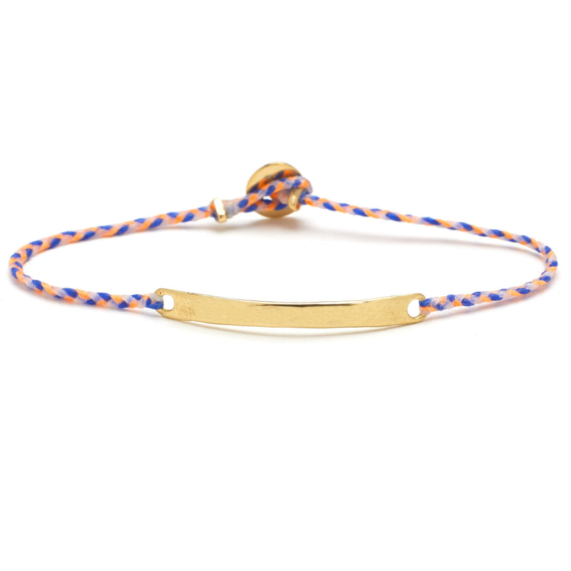 Signature Brass ID Bracelet in Neon Peach, Royal Blue, and White