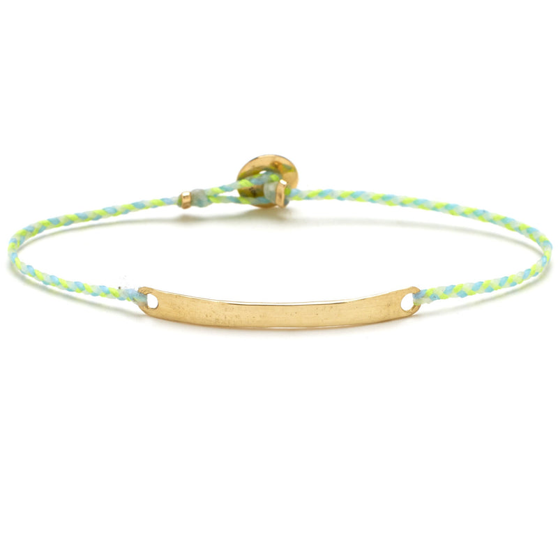 Signature ID Bracelet with Gold in Neon Yellow, Sky, and White