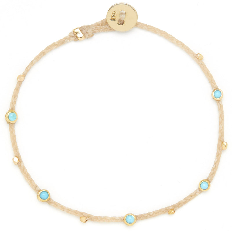 Bezel Charms Bracelet with Turquoise in Natural